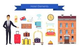Icônes d'éléments d'hôtel et illustration de vecteur de titre illustration libre de droits