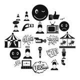 Icônes d'émotion réglées, style simple illustration stock
