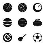 Icônes d'équipement de jeu réglées, style simple Image stock