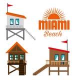 Icônes d'été de Miami Beach Illustration de Vecteur