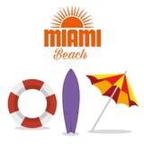 Icônes d'été de Miami Beach Illustration Stock