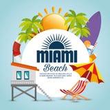 Icônes d'été de Miami Beach Illustration Libre de Droits