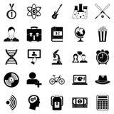 Icônes d'étudiant réglées, style simple Image stock