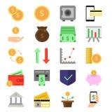 Icônes d'affaires et de finances réglées Symboles de B2c et de b2b Photos d'argent et de pièces de monnaie Image stock