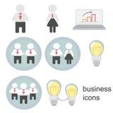 Icônes d'affaires, hommes d'affaires, femmes d'affaires, gens d'affaires Photos stock
