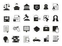 Icônes d'affaires réglées dans le style monochrome Loi et protection Règlements juridiques illustration stock