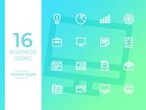 16 icônes d'affaires, symbole d'affaires Icônes d'ensemble illustration stock