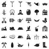 Icônes d'agriculteur réglées, style simple Image stock