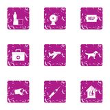 Icônes d'aide aux victimes réglées, style grunge Photographie stock libre de droits