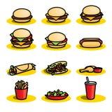 Icônes d'aliments de préparation rapide - illustration illustration libre de droits
