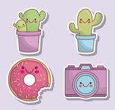 Icônes d'appareil-photo et de cactus de Kawaii Photo stock