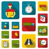 Icônes d'appartement service compris de logistique dans la collection d'ensemble pour la conception La logistique et l'équipement Photos stock