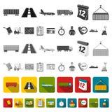 Icônes d'appartement service compris de logistique dans la collection d'ensemble pour la conception La logistique et l'équipement illustration stock