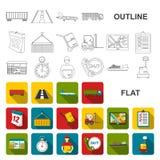 Icônes d'appartement service compris de logistique dans la collection d'ensemble pour la conception La logistique et l'équipement illustration libre de droits