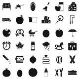 Icônes d'Apple réglées, style simple illustration stock