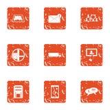 Icônes d'application de ville réglées, style grunge illustration libre de droits