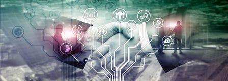 Icônes d'applications économiques sur le fond brouillé Financier et commerce Concept de technologie d'Internet photo libre de droits