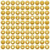 100 icônes d'approvisionnement en eau ont placé l'or illustration libre de droits