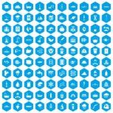 100 icônes d'approvisionnement en eau réglées bleues illustration libre de droits