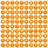 100 icônes d'approvisionnement en eau réglées oranges illustration de vecteur