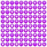 100 icônes d'approvisionnement en eau réglées pourpres illustration stock