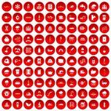 100 icônes d'approvisionnement en eau réglées rouges illustration stock