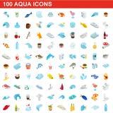 100 icônes d'aqua réglées, style 3d isométrique illustration libre de droits