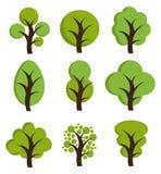 Icônes d'arbre, ensemble d'arbres illustration libre de droits