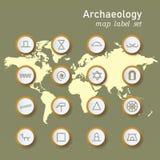 Ic?nes d'arch?ologie r?gl?es dans la notation scientifique sur le fond de carte du monde illustration stock