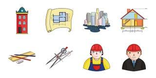 Icônes d'architecture et de construction dans la collection d'ensemble pour la conception Image stock