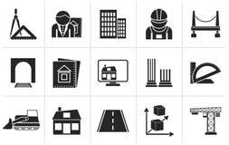 Icônes d'architecture et de construction de silhouette Images stock