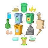 Icônes d'articles de déchets réglées, style de bande dessinée illustration libre de droits