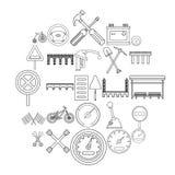 Icônes d'assiette de la route réglées, style d'ensemble illustration stock