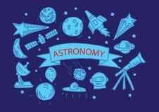 Icônes d'astronomie réglées Illustration de Vecteur