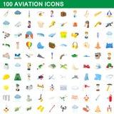 100 icônes d'aviation réglées, style de bande dessinée illustration libre de droits