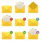 Icônes d'avis d'enveloppe de courrier réglées Concept des messages électroniques entrants, communication, service de distribution Photo libre de droits