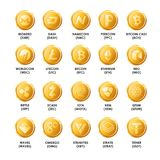 Icônes d'or de pièces de monnaie de cryptocurrency de Bitcoin Symbo d'isolement par vecteur Image libre de droits