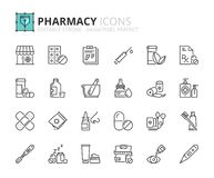 Icônes d'ensemble au sujet de pharmacie Images libres de droits