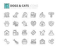 Icônes d'ensemble au sujet des chiens et des chats illustration stock