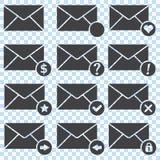 Icônes d'enveloppes, ensemble illustration stock
