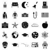 Icônes d'exploration d'espace réglées, style simple illustration stock