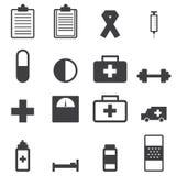 Icônes d'hôpital, style plat de conception d'illustion de vecteur illustration stock