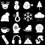 Icônes d'hiver avec le fond noir Images stock