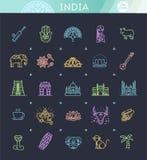 Icônes d'Inde réglées Attractions indiennes, ligne conception Tourisme dans l'Inde, illustration d'isolement de vecteur Symboles  Images libres de droits