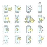 Icônes d'installation de Smartphone - NFC, paiement mobile et transmission de messages illustration stock