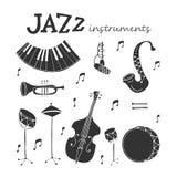 Icônes d'instruments de jazz illustration de vecteur