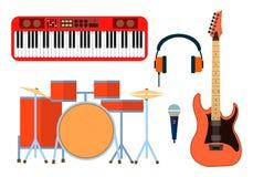 Icônes d'instruments de musique pour le groupe musical Synthétiseur de guitare, tambour, microphone, écouteurs pour la bande Conc Photos stock