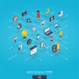 Icônes 3d intégrées par développement de Web Concept interactif isométrique de réseau de Digital Illustration Stock