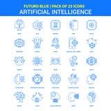 Icônes d'intelligence artificielle - paquet bleu de 25 icônes de Futuro illustration stock
