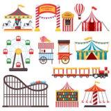 Icônes d'isolement de parc d'attractions Dirigez l'illustration plate de la tente de cirque, carrousel, roue de ferris Éléments d illustration libre de droits